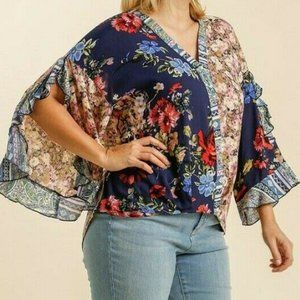 Umgee Top Mixed Floral Scallop Ruffle Sleeve Plus